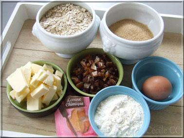 Ingrédients recette des biscuits flocons avoine et dattes