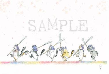 猫舞伎ポストカード「荒法師の行進」14.8 x 10 cm  150円(税別)
