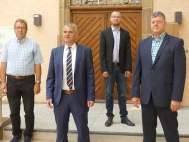 FDP Gemeinderat Karl Willig, Bürgermeister Holger Albrich, FDP Bundestagskandidat Marcel Distl, FDP Landtagskandidat Roland Zitzmann