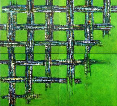 green, net, grün, Netz, mehrteilig, multipart, german, contemporary, art, bildende, Kunst, Fußball, soccer