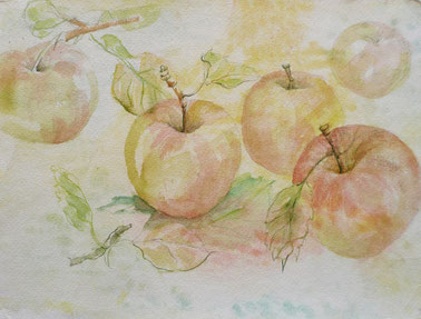Apfelstillleben Aquarell 40x50 cm
