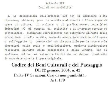 T.Follesa_Declinazioni sul Falso: falsi veri e falsi leciti_Codice dei Beni Culturali e del Paesaggio_art. 179
