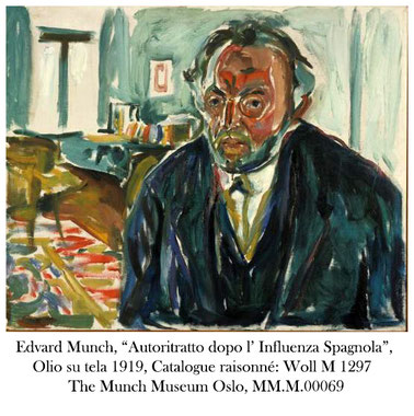 "Edvard Munch, ""Autoritratto dopo l' Influenza Spagnola"", Olio su tela 1919,Catalogue raisonné: Woll M 1297  The Munch Museum Oslo, MM.M.00069"