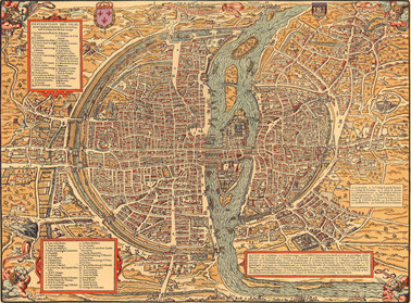 Plan de Paris de Belleforest vers 1550. Graveur Pierre Eskrich numericable.fr