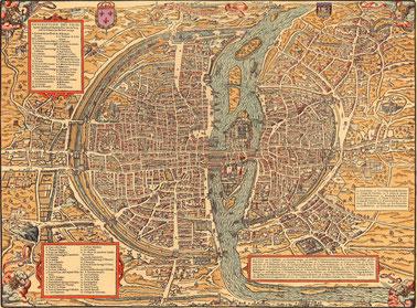 Plan de Paris de Belleforest vers 1550. Graveur Pierre Eskrich numericable.fr