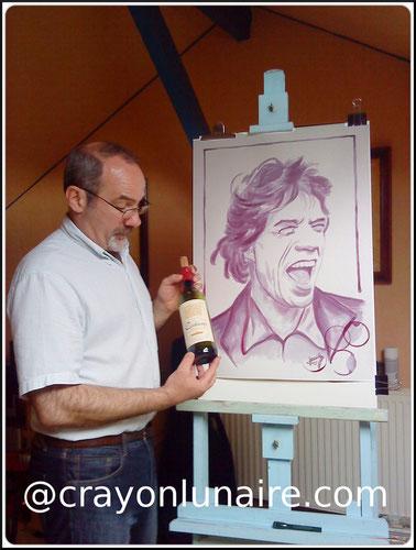 painting with wine-peinture au vin-wine painting