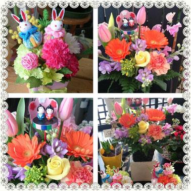 ひな祭り アレンジ 花飾り 花ひろ 桃の花 菜の花 お雛様アレンジ花