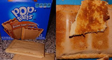 links sieht man die Füllung und wie die Zuckerschicht nach dem Toasten aussieht