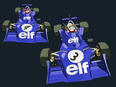 Patrick Depailler & Jody Scheckter by Muneta & Cerracín - Tyrrell 007