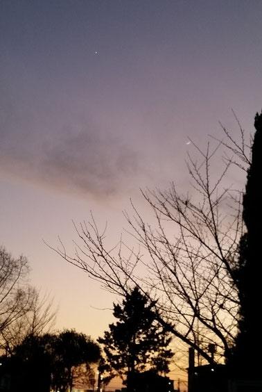 元旦の三日月と金星
