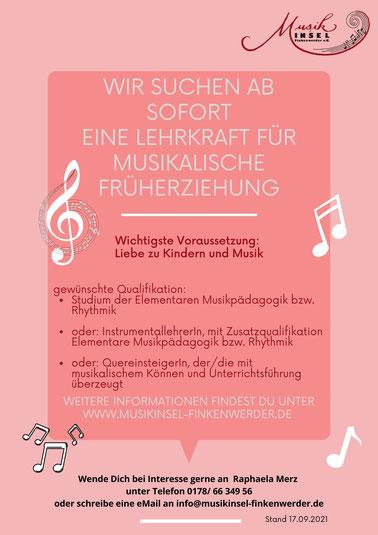 Stellenanzeige für eine Lehrkraft für den Bereich Musikalische Früherziehung bei der MusikInsel Finkenwerder e.V.