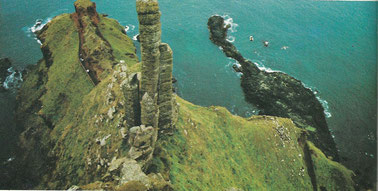 Lacada Point, Giant's Causeway, the site of the wreck of the Girona with the Robert Stenuit's diving team top right.