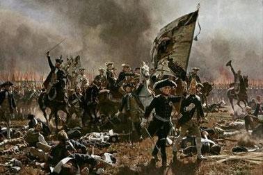 """Friedrich II. als """"Kriegsheld"""" während der Schlacht von Zorndorf (zeitgenössische Darstellung)"""