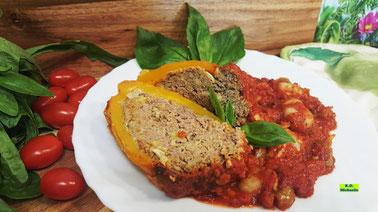 Rezeptvorschau auf eBook/Buch Dinkel-Dreams 3 von K.D. Michaelis: Selbstgemachte Kartoffel-Gnocchi mit gefüllter Paprikaschote und Tomaten-Gemüse-Sugo