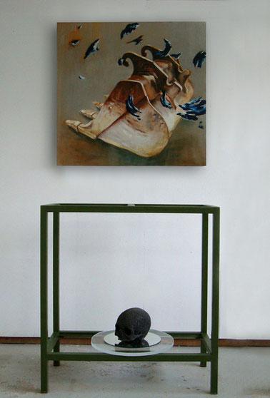 T.I.N.A  2011  huile sur toile, cadre acier, limaille et résine - 165x140cm crâne monde du travail
