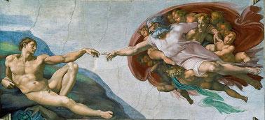 Michelangelo: Die Erschaffung Adams (Wikipedia)