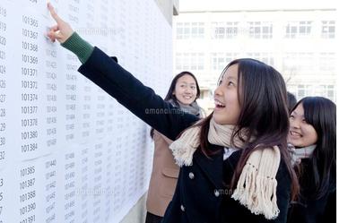 高校合格発表で自分の番号を見て合格を喜ぶ高校生