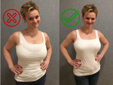 Unpassende BH´s erzeugen eine Art Doppel-Brust oder die Spitzen zeichnen sich noch unter dem Shirt ab...