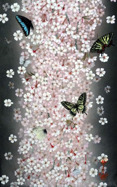 「桜咲く-夜桜」 紙本岩彩 M10