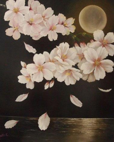 「黄色い月夜と桜」 油彩 F30