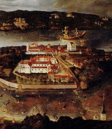 Ausschnitt aus einem Gemälde im Kloster Mittelzell aus dem Jahr 1624