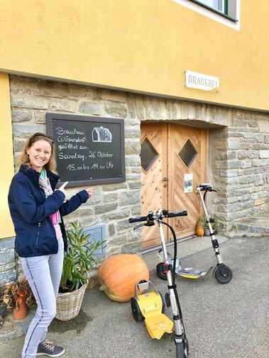 Per Fahrrad oder Scooter zum Brauhaus Wösendorf. In der Wachau, zu Ausflugszielen und schönen Touren. Eine schöne Freizeitaktivität in Krems, Spitz an der Donau und Weißenkirchen.