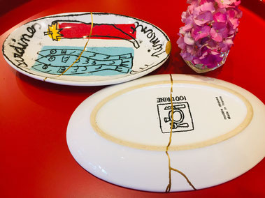 フランス製お皿 と アジサイ