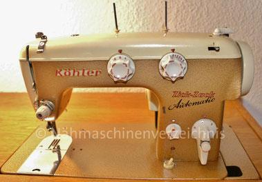 Altenburg Köhler 51, 53, 54, Flachbett-Haushaltsnähmaschine mit Anbaumotor, Hersteller: VEB-Nähmaschinenwerk Altenburg  (Bilder: Norbert Schwinge)
