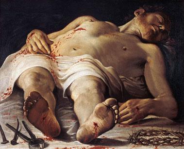 Annibale Carracci, Cristo mortoe e strumenti della Passione