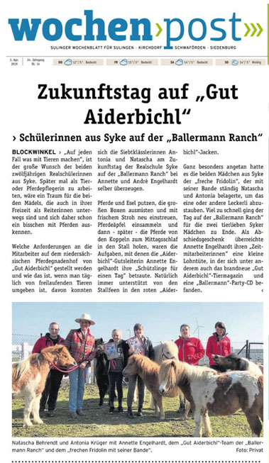 Girls-Day bei Annette u. André Engelhardt auf der 'Gut Aiderbichl BALLERMANN RANCH'
