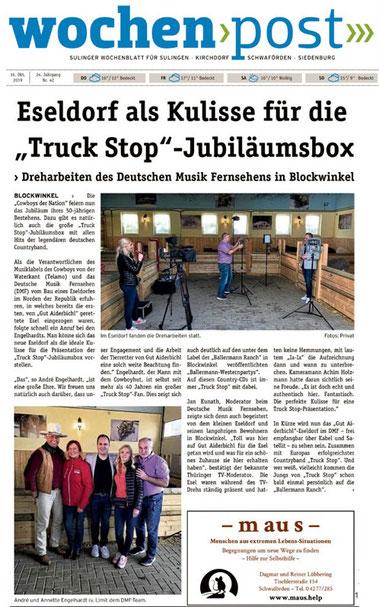 """""""Truck Stop""""-Werbung bei Annette u. André Engelhardt auf der Ballermann Ranch"""