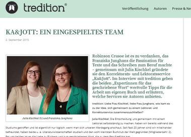 Tredition, Ka&Jott Experten Vorstellung, Interview, Lektorat, Korrektorat
