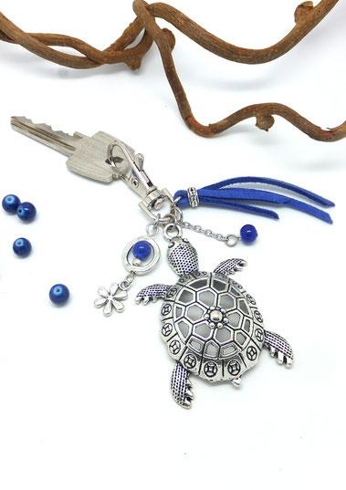 BIJOU de sac tortue, porte clé tortue, porte clé argenté et bleu, porte clé fait main