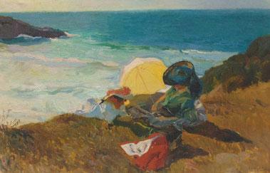 J Sorolla.Sol poniente de Biarritz 1906.Realizada al natural, su esposa Clotilde y su hija menor Elena recostada a la luz del atardecer,prevalece la atmósfera de serenidad,luz atlántica menos saturada que el Mediterráneo.