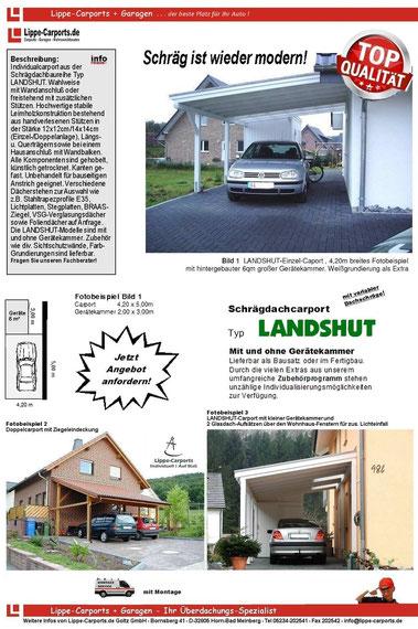 Individual  Carport Baureihe Landshut mit Schrägdach