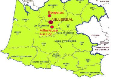 Plan de situation de Pajot Entreprise en Lot et Garonne, à Villeréal, dans le grand Sud Ouest