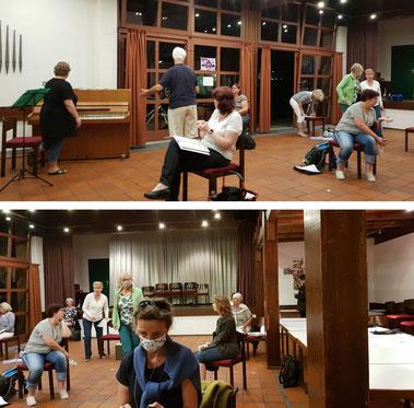 Die Rainbow Singers haben ihre wöchentliche Chorprobe im Martin-Luther-Haus unter Berücksichtigung der Vorsichtsmaßnahmen und in einem reduzierten Umfang wieder aufgenommen