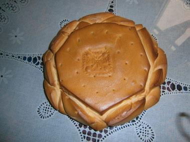 Pan con el sello de Carmelo García Mangudo.