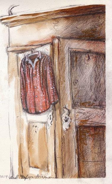Schrank mit offener Tür - ist es vielleicht der Eingang zu einer besonderen Welt? Wahrscheinlich eher zur bunten Garderobe einer Frau mit Spaß an nostalgischen Möbeln.