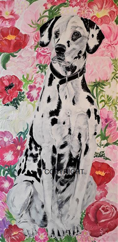 Hundeporträt: Dalmatiner sitzend vor Blumenhintergrund