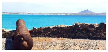 Kanone vom alten Fort auf Djeu vor vor Boa Vista auf der Fish, Chill & Grill Tour mit Boa Vista Tours
