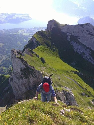 Bergtour mit meinem Bruder am Pilatus: Auf dem Weg zur Eselwand. Juli 2015