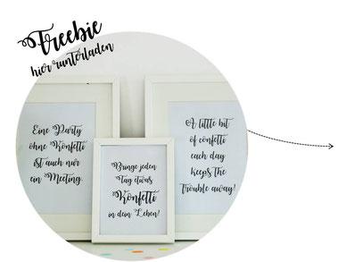 Bild: Gratis Download Print mit Konfetti Zitaten, gefunden auf Partystories.de
