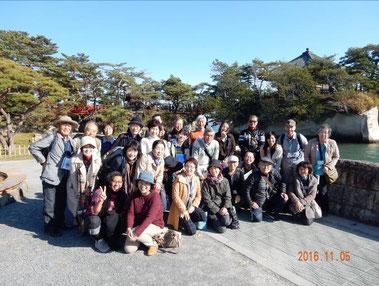 松島地区にて、現地での英語によるガイド研修会。