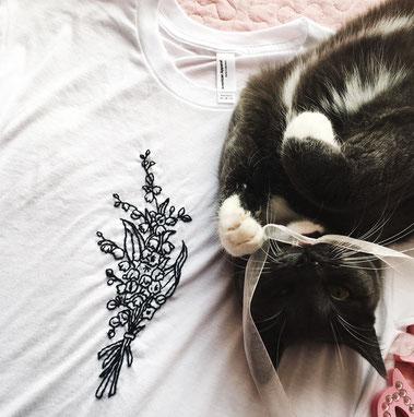 L'atelier Brodé, Etsy Québec, Chandail brodé, chat