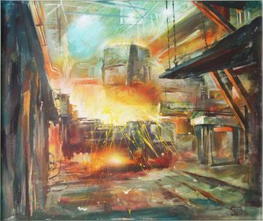 "Dolondutsky Alexandr, ""Fabrik"", Öl auf Leinwand, 100 x 120 cm, 2012, gerahmt"