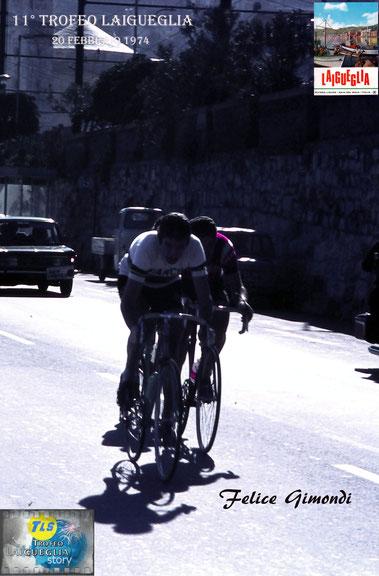 Foto courtesy: Gianni Ardoino. F.Gimondi con Polidori e Mintjens all'inseguimento di Merckx e Paolini al passaggio da Laigueglia.