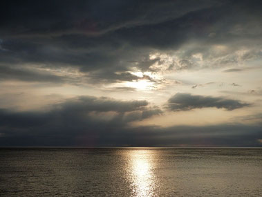 朝方までゴロゴロ雷様が怒っていましたが、昼前にはスッキリ晴れました。夕日は黒い雲にブロックされちゃった・・