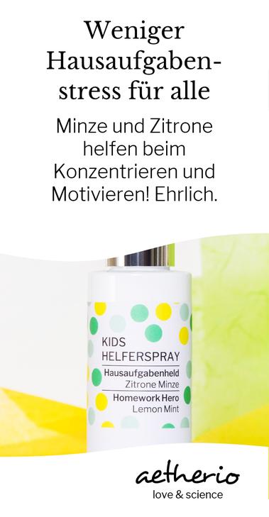 Schulkinder werden zu Hausaufgabenhelden mit der konzentrationsfördernden Wirkung von Zitrone und Minze. Entspanntere #Hausaufgaben zum Sprühen, mit love & science von aetherio.de #schulkind #schulstart #einschulung #lernen #motivation #aetherio #prüfung
