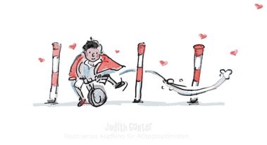 Junge auf Laufrad fährt Slalom - Judith Ganter-IllustriertesKopfkino für Alltagsoptimisten-TagebuchprojektAchtsamkeit-9 KREATIVE IDEEN FÜR MEHR ACHTSAMKEIT UNTERWEGS-INSPIRATION FÜR DEIN TAGEBUCH-ACHTSAMKEIT IDEEN